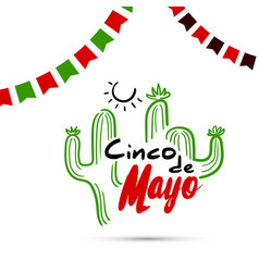 Cinco de mayo with cactus vector
