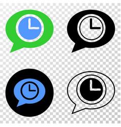 Clock message balloon eps icon with contour vector