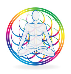 colorful chakra meditating man vector image