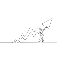 continuous one line drawing young male worker vector image