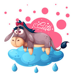 cute teddy donkey - funny cloud vector image