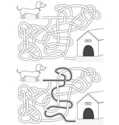 Dachshund maze vector
