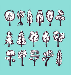 doodle trees set vector image