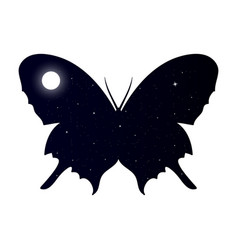 double exposure butterfly with star sky background vector image