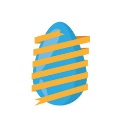 Easter egg wrapped yellow ribbon decoration vector
