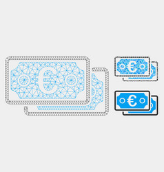 Euro banknotes mesh carcass model and vector