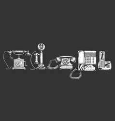 evolution set telephone vector image