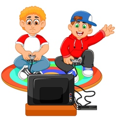 funny two boys playing playstation vector image