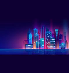 futuristic night city with vector image