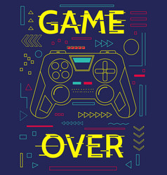 Game print minimal poster with controller and vector