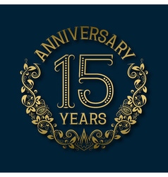Golden emblem of fifteenth years anniversary vector image