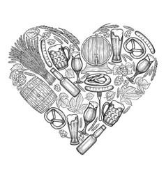 Graphic beer heart vector