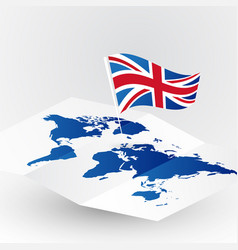great britain flag on abstract world map vector image