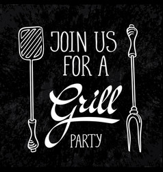 grill typography design concept vector image