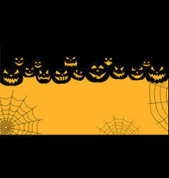 halloween background with pumpkin faces vector image