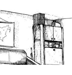 hand drawn interior of cabinet vector image