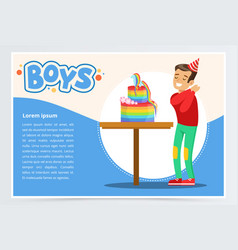 happy boy and a birthday cake cute kid vector image
