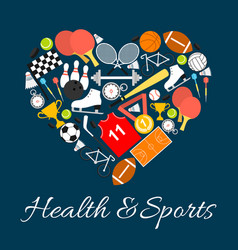 Health and sports emblem in heart shape vector