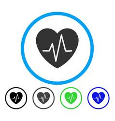Heart ekg rounded icon vector