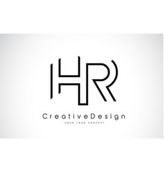 Hr h r letter logo design in black colors vector