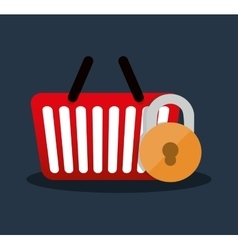 Internet security basket shop online vector