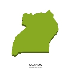 Isometric map of Uganda detailed vector