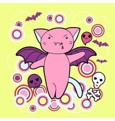 kawaii Halloween cat and creatures vector image