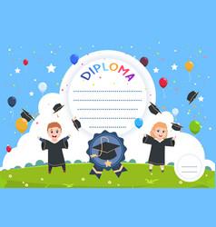 Kids diploma graduation certificate children vector