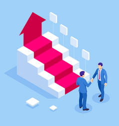 Ladder to success isometric successful business vector