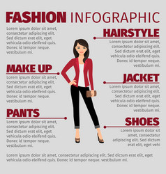 lady in red jacket fashion infographic vector image