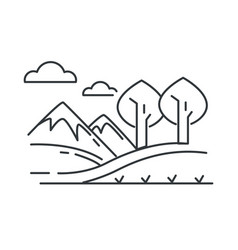 landscape mountains and hills road and trees vector image