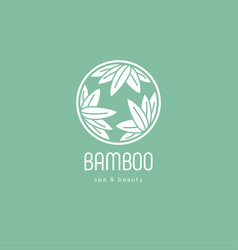 Logo bamboo leaves spa salon vector