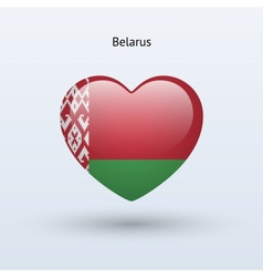 Love Belarus symbol Heart flag icon vector image