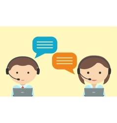 Man and woman in headset Call center concept vector