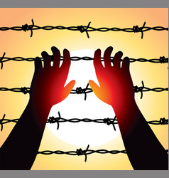 man raised hands over barbed wire prison boundary vector image