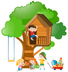 Many kids playing on the treehouse vector