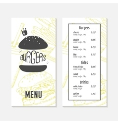 Menu template with sketched fast food elements vector image