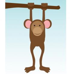monkey hanging on tree vector image