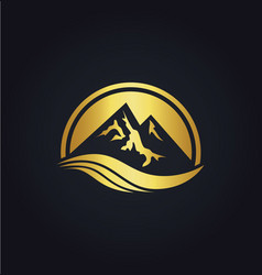 Mountain icon gold logo vector