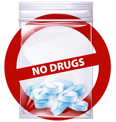 No drugs sign with pills in bag vector