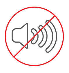 no sound thin line icon prohibited and silence vector image