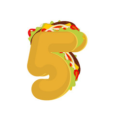 number 5 tacos mexican fast food font five taco vector image
