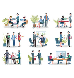 Office business meetings conference and contract vector