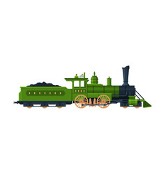old train vintage locomotive and cargo wagon vector image