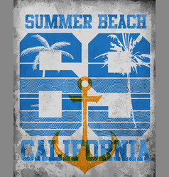 on theme california typography t-shirt vector image
