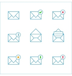 Outline mail icons vector image