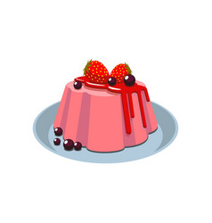Panna cotta strawberry pudding on plate isolated vector