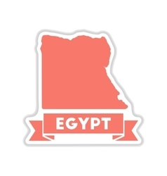 Paper sticker on white background map of egypt vector