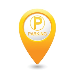 Parking icon on yellow pointer vector