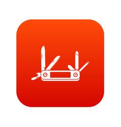 Pocket flashlight icon digital red vector